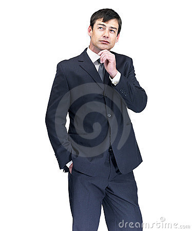 Mature business man in thoughts