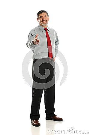 Mature businessman extending a hanshake