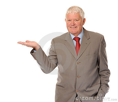 mature businessman holding invisible product