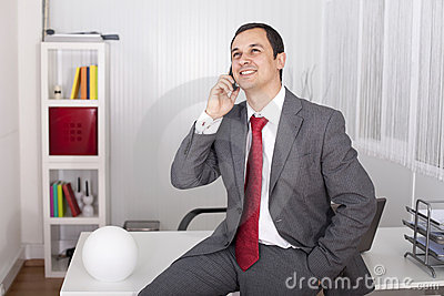 Mature businessman talking on the phone
