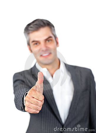 Mature businessman with thumb up