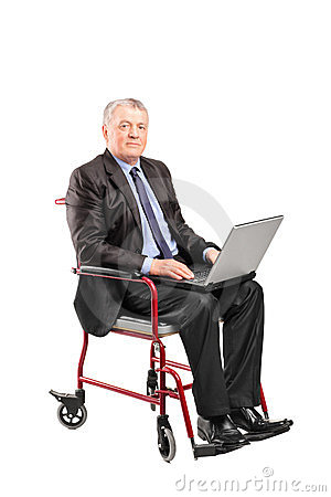 Mature businessman in a wheelchair