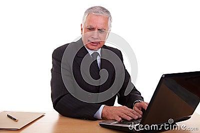 Mature businessman  working at computer