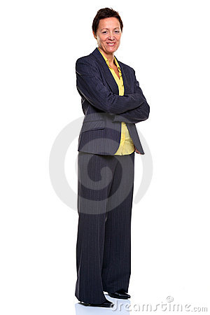Mature businesswoman arms folded  on white