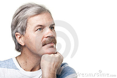 Mature caucasian man isolated on white background