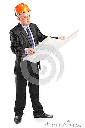 Mature construction worker holding blueprint