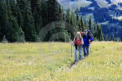 Mature Couple Backpacking Through Singing Pass