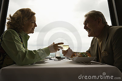 Mature couple at dinner.