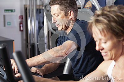 Mature couple at fitness centre