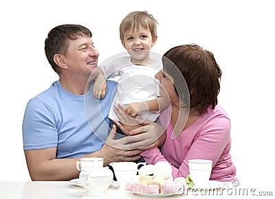 Mature couple with grandchild