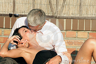 Mature couple kissing