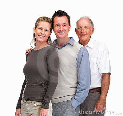 Mature couple standing with a senior man in line