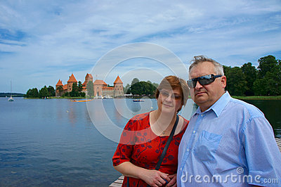 Mature couple travels to Europe
