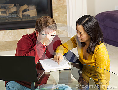 Mature Couple working on Urgent Matter from thier Home