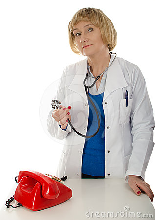Mature doctor and phone