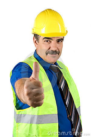 Mature engineer man give thumbs-up