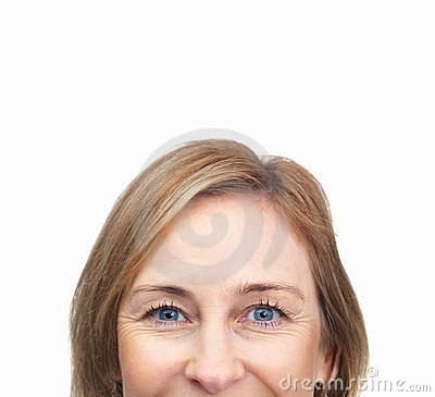 Mature female face over white background