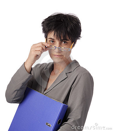 Mature female teacher looking over her glasses
