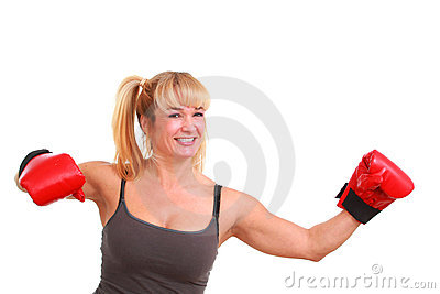 Mature funny woman with boxing gloves