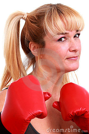 Free Mature Funny Woman With Boxing Gloves Stock Photo - 18868690
