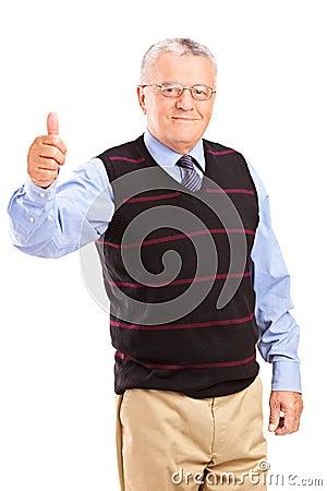 A mature gentleman giving thumbs up