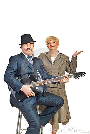 Mature guitarist with his wife
