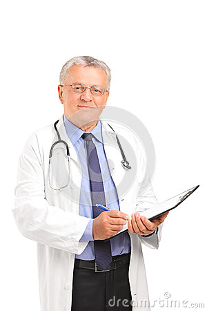 Mature healthcare professional holding a clipboard