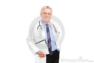 A mature healthcare professional posing