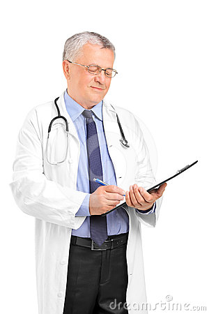 Mature healthcare professional writing down notes