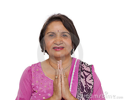 Mature indian woman namaste greeting