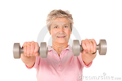 Mature lady lifting weights