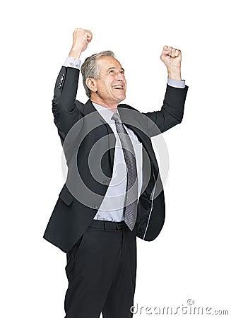 Mature male entrepreneur celebrating his success