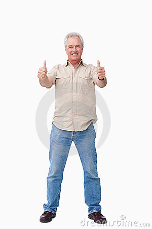 Mature male giving thumbs up