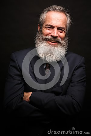 Free Mature Male Model Wearing Suit With Grey Hairstyle And Beard Stock Photo - 127234260