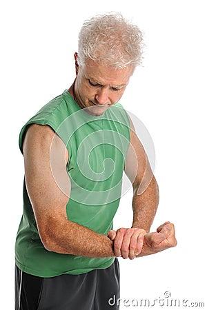 Mature Man Flexing Arm