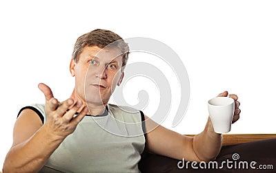 Mature man gesturing