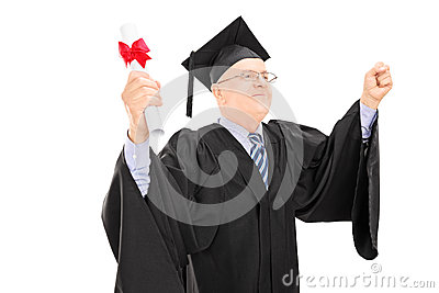 Mature man in graduation gown holding diploma and gesturing succ