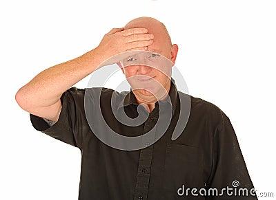 Mature man with headache