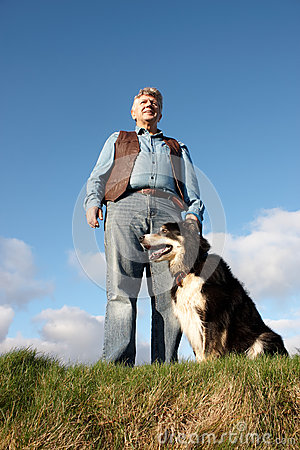 Mature man and his dog
