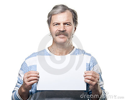 Mature man holding a blank billboard isolated