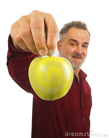 Free Mature Man Holds An Apple By Its Stem Stock Photo - 13048390