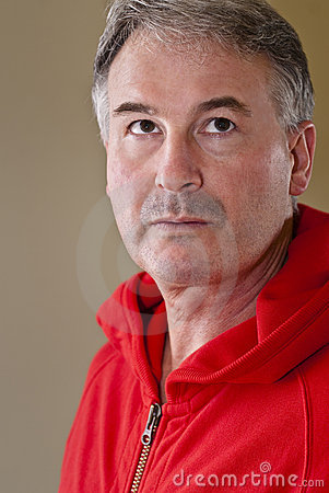 Mature man in red sweater