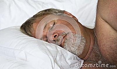 Mature man sleeping peacefully
