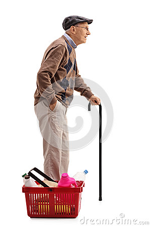 Free Mature Man Waiting In Line Next To Shopping Basket Royalty Free Stock Photography - 78669377