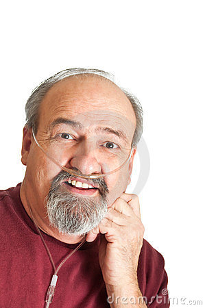 Free Mature Man With Breathing Disability Royalty Free Stock Photos - 24034568