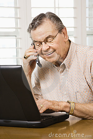 Free Mature Man With Laptop. Stock Photography - 2848502