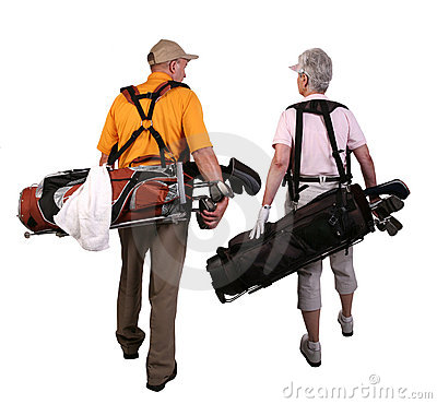 Mature Man and Woman Golfers
