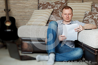 Mature man working at home