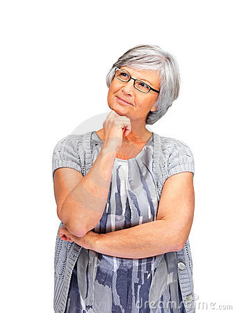 Mature old female day dreaming on white background