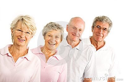 Mature older people in the gym